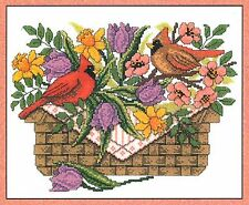 Imaginating SPRING CARDINALS Cross Stitch Chart/Leaflet ~ Diana Arthurs ~ basket