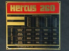 HERCUS 260 HEADSTOCK SPEED CHART  FOR METAL LATHE SPEED RANGE 60 TO 2000 RPM