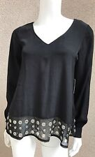 NWT Lovers&Friends Woman Blouse SZ XS Black With Metal Holes Flair