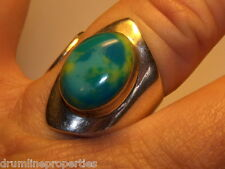 STERLING SILVER 925  ESTATE MODERN AZURITE ADJUSTABLE  BAND RING SIZE 8