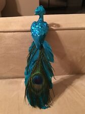 "Elegant 10"" Teal Blue Feather Glitter Peacock with Clip Wedding Decoration Decor"