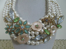 NWT Auth Betsey Johnson Queen Bee Lucite Flower Pearl 5 Row Statement Necklace