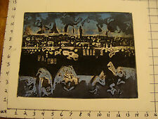 Vintage Art: EMILY MARKS--collagraph-- ABSTRACT CITY ? blue, COOL MODERN green