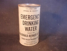 Old Vtg US Coast Guard Govt Emergency Drinking Water Can Still Coin Piggy Bank