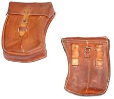 1950s ARMY LEATHER BELT POUCH LARGE 4 MAGAZINE BROWN CURVED STURDY VINTAGE