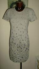 Kaliko Grey purple floral lambswool angora jumper dress size 12