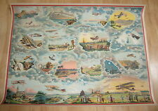 Old c.1910's Antique - French Game PRINT - Aeroplane - AIRPLANES - AVIATION