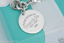 "Please Return to Tiffany & Co. Sterling Silver Round Tag Charm 7.5"" Bracelet"