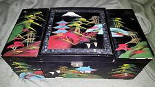 Vintage Black Lacquer Painted Mother of Pearl Jewelry Box Music Mirror Japan