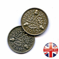 A pair of 1932 British GEORGE V THREEPENCE Coins (Silver .500 Fine)
