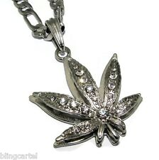 Pot Leaf Marijuana Cannabis Iced-Out Silver Plated Necklace Chain Weed Pendant