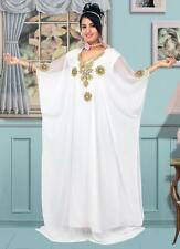 White Dubai Farasha Moroccan Kaftan Dress Abaya Jilbab Islamic Arabian clothing