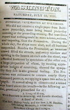 1826 newspaper THOMAS JEFFERSON FUNERAL in Baltimore MARYLAND described inDETAIL