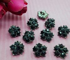10 Sparkling 12mm Black Glass Rhinestone Silver Tone Metal Sewing Buttons #H064
