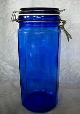 Collectible Cobalt Blue Glass Apothecary Jar/Bottle w/Wired Lid