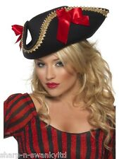 Ladies Adult Sexy Red and Black Luxury Swashbuckling Pirate Fancy Dress Hat