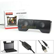 3.5mm Jack Stereo Speaker Hanging/Stand w Volume Control for Universal PC Laptop