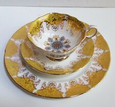 Fine Vintage Paragon China Gold Yellow & Gray Trio Set Plate Square Cup & Saucer