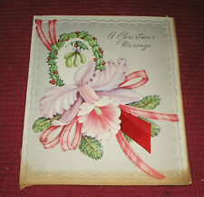 Vintage 1940s Beautiful Pink Orchid Mistletoe Christmas Card