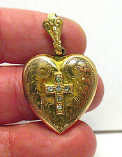 VINTAGE GOLD FILLED CLEAR STONE LOCKET HEART HOLY CROSS 20 MM 4.8 GRAMS SEALED