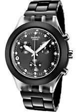 New Swatch Full Blooded Night Black Chronograph Date Watch 43mm SVCK4035AG $160