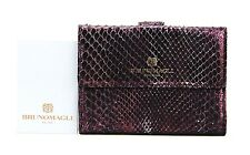 BRUNO MAGLI SERENA PURPLE LUXURY 8CC + WALLET 100% PYTHON SKIN ITALY NEW # 30