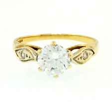 9Carat Yellow Gold Simulated Diamond Solitaire Ring (Size K) 6mm Widest