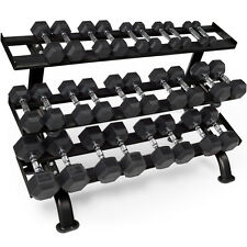 Marcy 230kg Rubber Dumbbell Set  Hex 1-18kg 14 Pairs & Gym Free Weights Rack