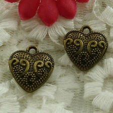free ship 65 pieces bronze plated heart charms 17x15mm #2843