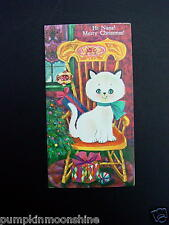 #G796- Vintage Unused Xmas Greeting Card Sweet Cat on Wooden Chair
