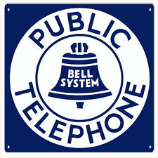 Public Telephone Bell System Aluminum Sign Garage Art