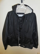 London Fog RUBBER Crop Hooded w/ BACK POCKET Rain Coat Jacket MEDIUM Black Beige