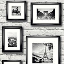 Paris in Frame White Brick Wallpaper by Muriva 77209