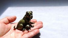 ANTIQUE 19c MINIATURE  BRONZE FIGURE DEPICTING A BULLDOG AND PUP