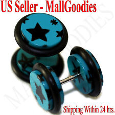 1283 Fake Cheater Illusion Faux Ear Plugs Blue & Black Stars Design 00G 10mm