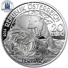 Österreich 20 Euro Silber 2014 PP Lebendige Urzeit: Tertiär -  Leben auf der Erd
