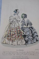 GRAVURE COULEURS LA MODE 1840-OLD FASHION PRINT XIXe SIECLE COSTUME MD67