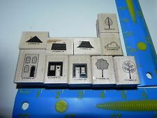 Stampin Up Good Neighbors Stamp set of 10 Houses Trees House Cloud