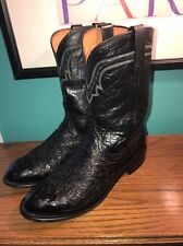 1883 Lucchese Western Ostrich Mens Cowboy Boots Size 9 EE Black Leather Boots