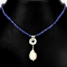 79 CTS! DESIGNER NATURAL BAROQUE WHITE PEARL, TANZANITE 925 SILVER BEAD NECKLACE