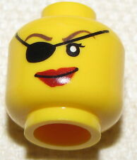 LEGO PIRATE FEMALE MINIFIGURE GIRL HEAD WITH EYEPATCH AND RED LIPS