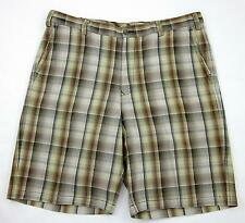 Tommy Bahama Flat Front Plaid Shorts Silk & Linen Browns Sz 36 Worn Twice!