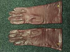 HALSTON Womens Maroon Silk Lined Leather Gloves - Size 6-1/2