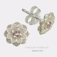 Authentic Pandora Silver Blooming Dahlia Cream & Blush Pink Earrings 290687NBP