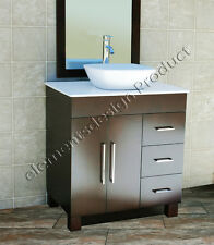 "30"" Bathroom Vanity Cabinet White Tech Stone Ceramic Vessel Sink Faucet CMS"