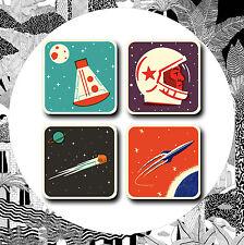 Conjunto de 4 Posavasos De Cosmos-Jay de la era espacial astronauta Esteras bebida con respaldo de Corcho Retro