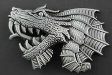 LARGE GREY DRAGON HEAD BELT BUCKLE METAL FANTASY CHINESE