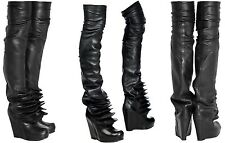 RICK OWENS Black Leather Thigh High OTK Brancusi Disc Wedge Boots EU 36  US 6