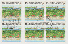 SINGAPORE - 1990 Tourism definitive block of 4 and pair, booklet stamps (S109)