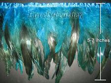 Coque feather fringe turquoise irridescent colour 1 metre trim